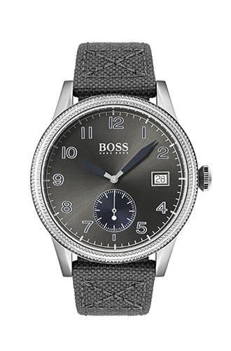 Стальные часы BOSS с указателем даты, стилизованные под винтажные часы пилота