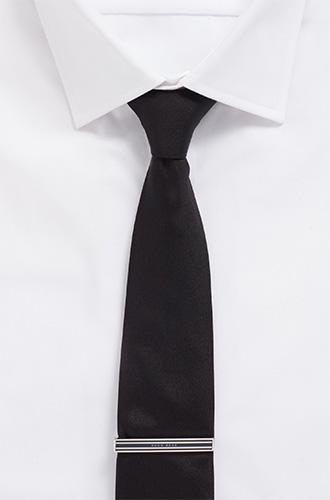 Шелковый галстук BOSS, дополненный стальным зажимом